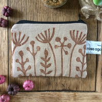 Handmade coin purse - seed head print - cotton purse