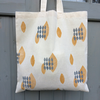 Geometric print tote bag - hand printed - cotton bag - book bags - sleeves & bag