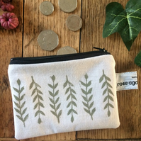 Sprig leaf coin purse - handmade - hand printed