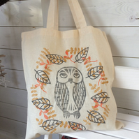 Owl with leaves tote bag - hand printed