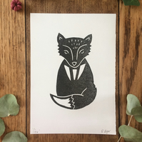 Fox print - lino print - hand printed - nature - woodland