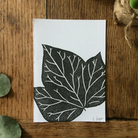 A6 lino print - oak leaves - hand printed