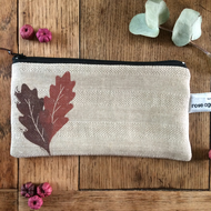 Handmade Linen makeup bag - oak leaf print bag - pencil case