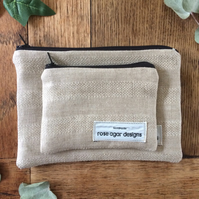 Linen bag set - handmade - linen purse set