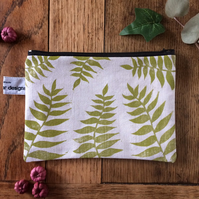 Fern leaf make up bag - handmade - hand printed