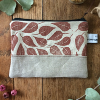 Handmade linen makeup bag - hand printed leaves - cosmetic purse