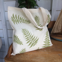 Fern leaf tote bag - hand printed