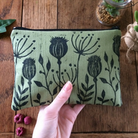Handmade wild flower makeup bag - hand printed
