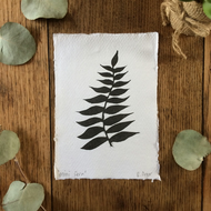 Mini fern leaf lino print - A6