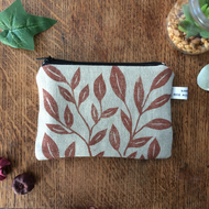Handmade linen coin purse - botanical print - wallet