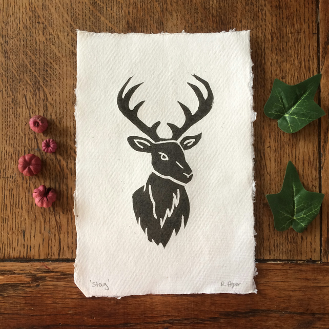 Stag lino print - nature print - woodland