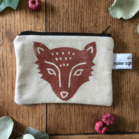Handmade fox coin purse - linen purse - hand printed
