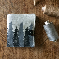 Handmade pine tree needle book - sewing needle case - hand printed