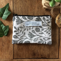 Handmade coin purse - botanical print - card wallet