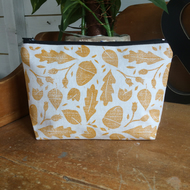 Nature print makeup bag - handmade - hand printed - cosmetic purse