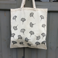 Hand printed cotton tote bag - ginkgo leaf - botanical