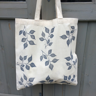Hand printed cotton tote bag - leaf print - botanical