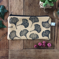 Ginkgo leaf print pencil case - makeup bags - handmade