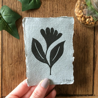 Mini wild flower lino print