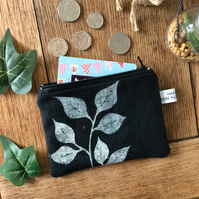 Leaf print coin purse - handmade - hand printed - linen accessories