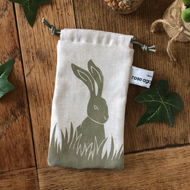 Hare print sunglasses case - handmade - drawstring pouch