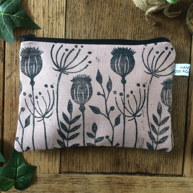 Pink wild flower makeup bag - handmade - hand printed