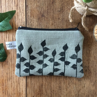 Leaf print coin purse - handmade - hand printed - accessories
