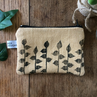 Leaf print coin purse - ochre - hand printed - handmade - accessories