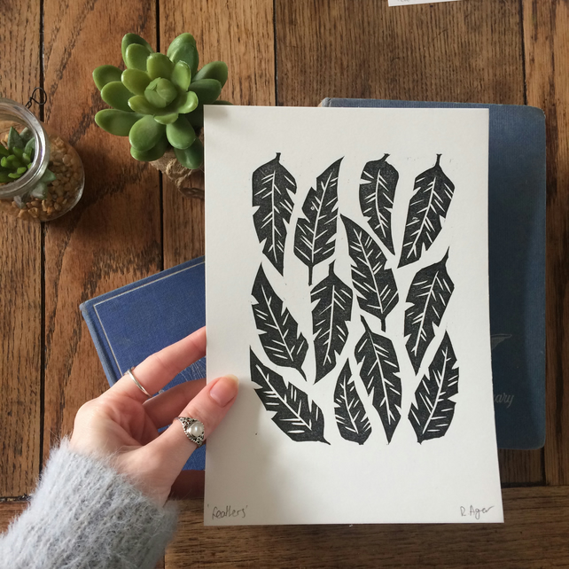 Feather lino print - A5 - nature themed print