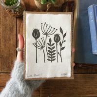 Mini wild flower lino print - A6 print - nature themed print