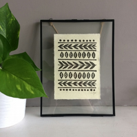 Boho lino print on handmade paper - nature themed