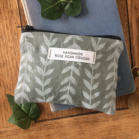 Nature themed linen coin purse - handmade