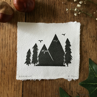 Adventure lino print - mini print - nature themed