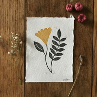 Wild flower print - mini print - botanical - wall art - lino prints