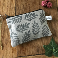 Repeat leaf coin purse - grey linen purse - coin purse - wallet