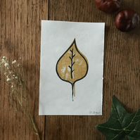 Mini leaf print - ochre & black