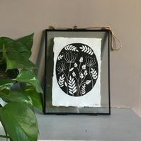A5 nature themed lino print on handmade paper