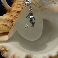 Sea Glass & Sterling Silver Necklace with Mermaid Charm