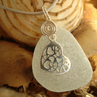 Sea Glass & Sterling Silver Necklace with Filigree Heart