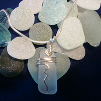 Sea Glass & Sterling Silver Wire Wrapped Necklace