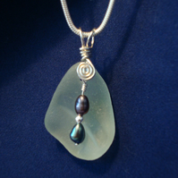 Sea Glass & Sterling Silver Pendant with Freshwater Pearls