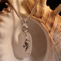 Sea Glass Necklace with Sterling Silver Seahorse Charm