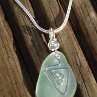 Genuine Sea Glass Pendant with Sterling Silver Hammered Charm