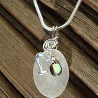 Genuine Sea Glass Pendant and Sterling Silver Heart