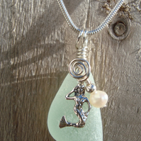 Sea Glass & Sterling Silver Necklace with Mermaid and Freshwater Pearl