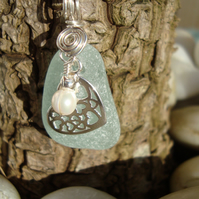 Genuine Sea Glass Pendant and Sterling Silver Filigree Heart & Freshwater Pearl
