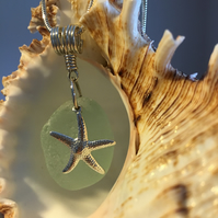 Sea Glass & Sterling Silver Necklace with Starfish Charm