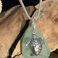 Sea Glass & Sterling Silver Necklace with Sea Turtle Charm