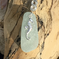 Sea Glass & Sterling Silver Necklace with Seahorse Charm