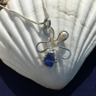 Sea Glass, Pearl & Sterling Silver Necklace